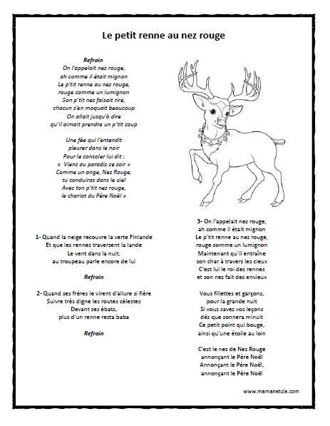 No l chanson le petit renne au nez rouge texte de - Dessin de renne au nez rouge ...