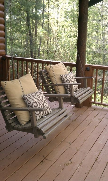 Rustic Porch with Porch swing chair, Porch swing, Deck Railing, Wrap around porch, Porch swing chair