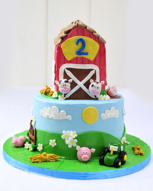 What a cute barn cake for birthday party