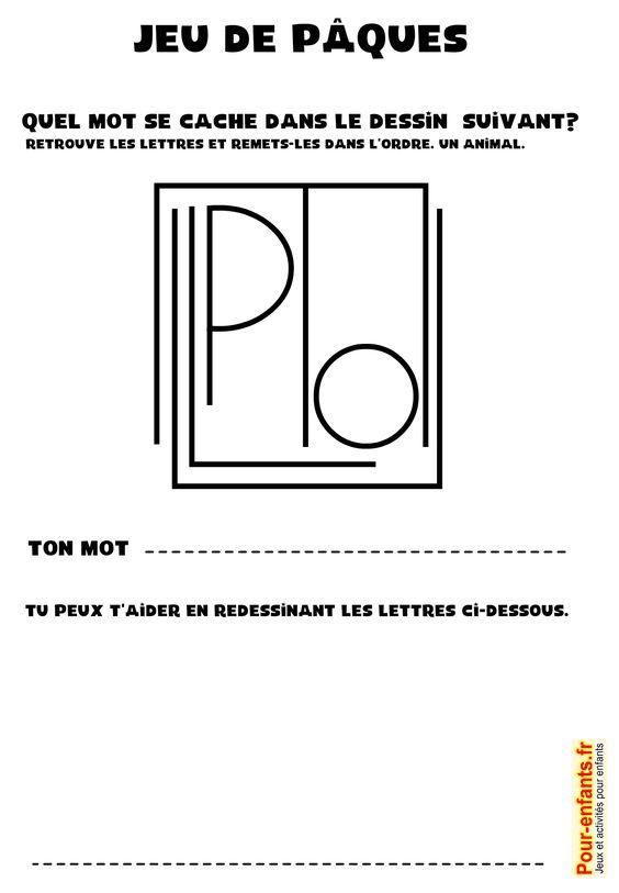 jeux de p ques imprimer jeu de mot gratuit paques enfants remettre les lettres d 39 un mot dans. Black Bedroom Furniture Sets. Home Design Ideas
