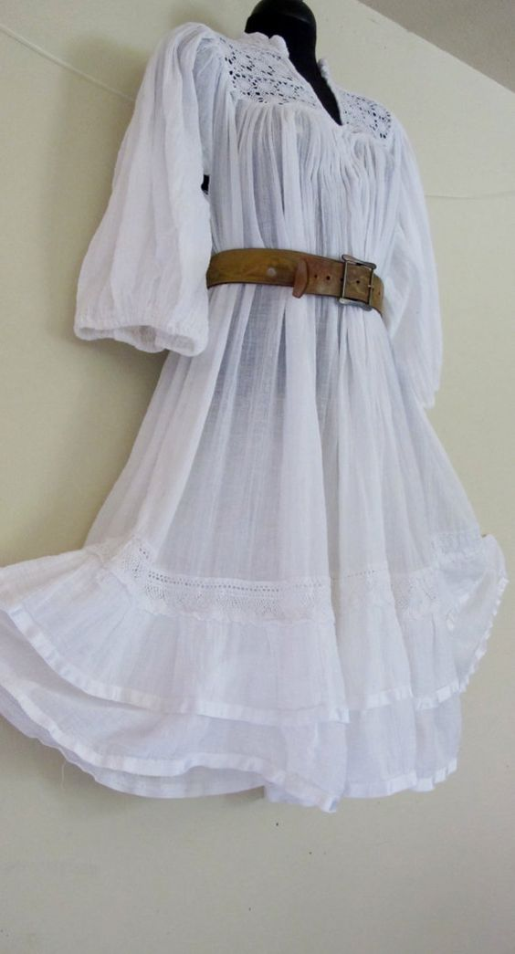 White Cotton Gauze Dress Crochet Dress Lace Dress Boho Hippie ...