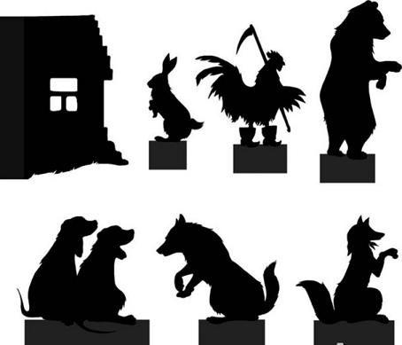 planche d`ombres chinoises theatre d`ombres silhouettes marionnettes conte russe  Зайкина избушка, фигурки для театра теней