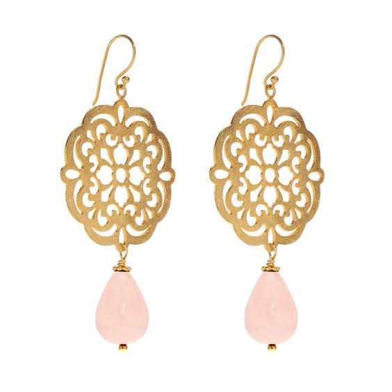 #Leaf - Ohrhänger - sterling silber 925 - vergoldet - rosenquarz - rose