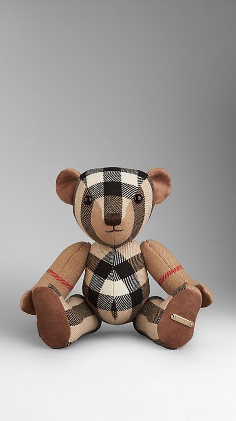 Ocre sombre Teddy-bear en cachemire check - Image 1