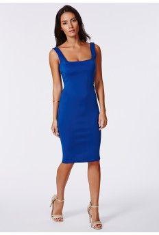 Sanga Scuba Midi Dress Cobalt