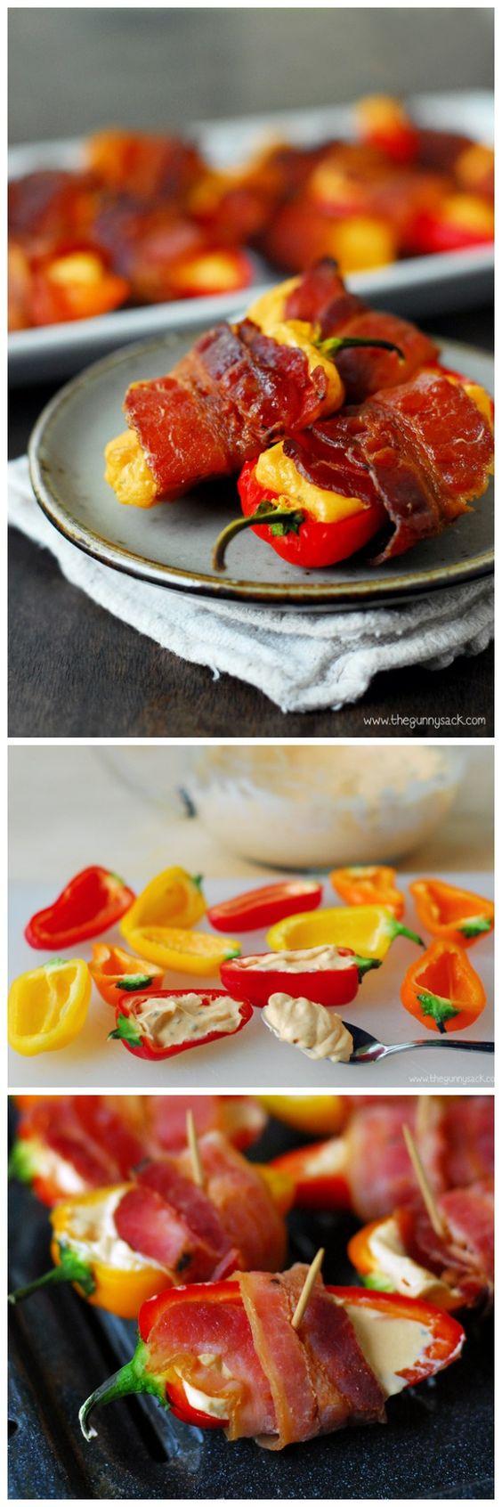 Ají dulces rellenos con queso crema y tocineta