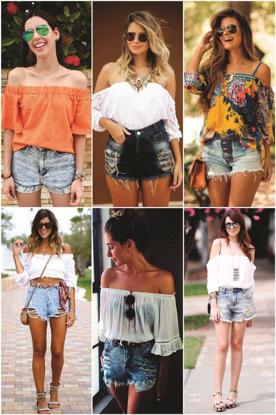 11/01/2016 Off the shoulder Summer trend.  Beautiful tops with Denim shorts and skirts.