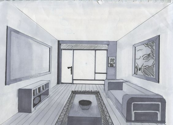 One point perspective rooms dessin for Dessin chambre en perspective