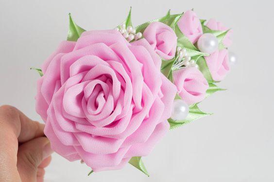 Pelo banda de color rosa rosa flor gasa la llanta por myflowersshop