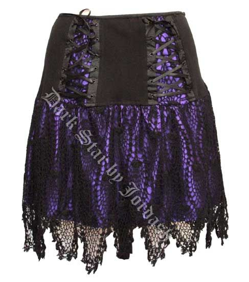 Dark Star Gothic Black Purple Satin Corset Lace Mini Skirt [DS/SK/5790P] - $52.99 : Mystic Crypt, the most unique, hard to find items at ghoulishly great prices!