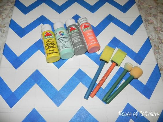 How to paint chevron on canvas
