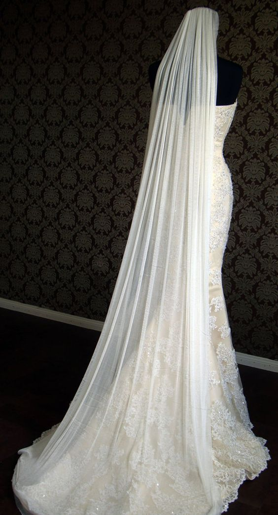 Pure Silk Tulle Chapel Length Veil with Raw Cut by IheartBride, $280.00. I really like how the edge of the veil appears to meet the hem of the dress.