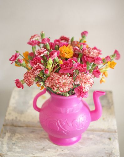 Pink Teapot with Flowers