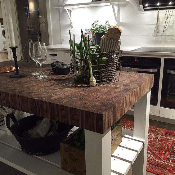 Kitchen island with a majestic worktop made from end grain in Brasilica Safari. // Köksö med en majestätisk bänkskiva i ändträ av vår Brasilica Safari. #spekva #kök #kitchen #køkken by spekva_sweden