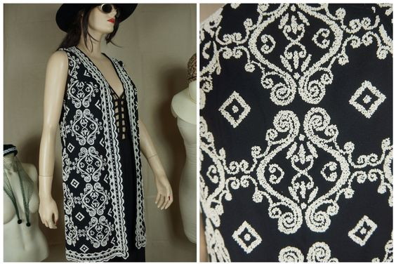 60s Hippie Beaded Vest / Vintage Ethnic Black And White Beaded Long Vest / Boho Hippie Abstract Vest / Moroccan Beaded Hippie Vest by HippieGypsyBoutique on Etsy