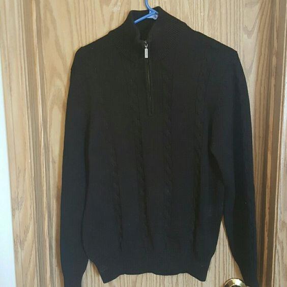 Zipped neck sweater Calvin Klein chocolate brown sweater with zippered detail. Calvin Klein Sweaters V-Necks