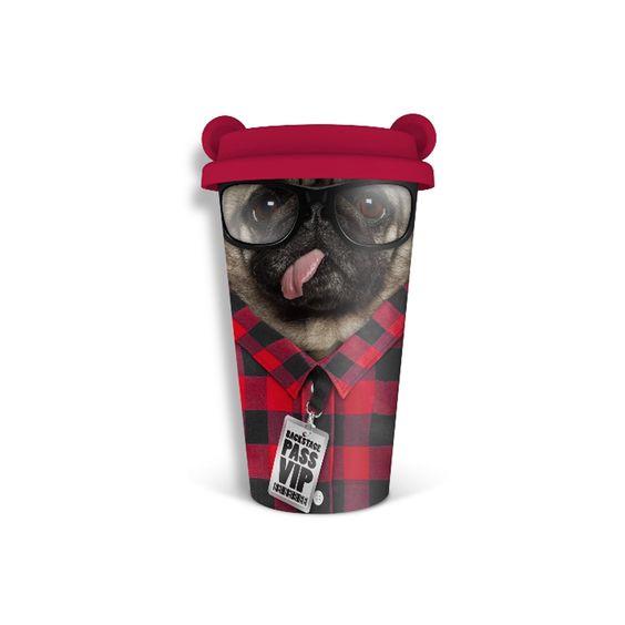 """Prenez votre pause-café avec humour avec cette tasse en céramique réutilisable à double paroi laissant la chaleur à l'intérieur et le froid à l'extérieur. Des tasses à design """"Funky""""!"""