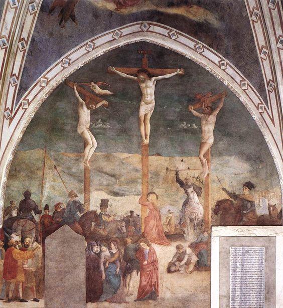 Crucifixion (altar wall) by MASOLINO da Panicale 1425-31 Fresco Castiglione Chapel, San Clemente, Rome