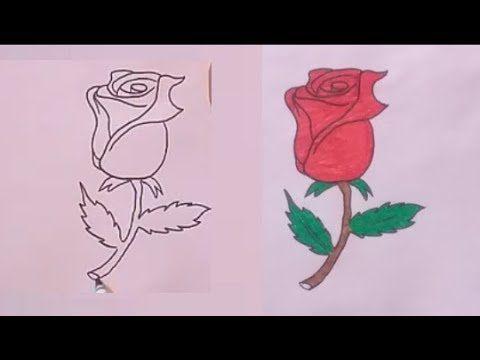 رسم وردة سهله وجميلة خطوة بخطوة للمبتدئين Rose
