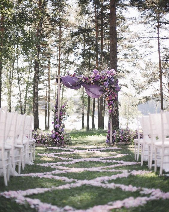2019 brides favorite weeding color stylish shade of purple-outdoor woodland weddings, fall weddings, spring weddings, wedding ceremony arches, wedding decorations with flowers and chiffon