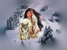 Native American Wolf Art   indianische frau und wolf Vektorgrafik