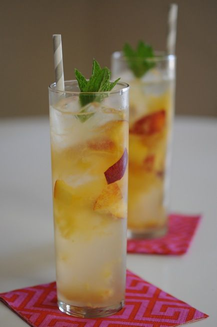 Peach Collins.....peaches, peach-flavored vodka, lemon juice, simple syrup and you have got a refreshing beverage:)