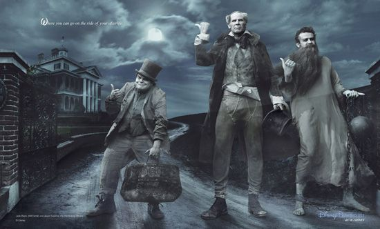 Jack Black, Will Ferrell and Jason Segel as the Hitchhiking Ghosts from the Haunted Mansion Attraction for the Disney Dream Portrait Series