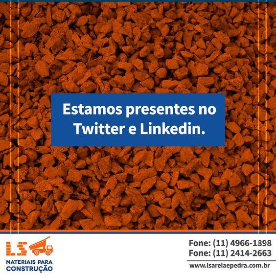 Além da fanpage, também estamos presentes no Twitter e Linkedin.  Siga nossos perfis!  Twitter: https://twitter.com/lsareiaepedra  Linkedin: https://www.linkedin.com/company/ls-materiais-para-construção?trk=biz-companies-cym