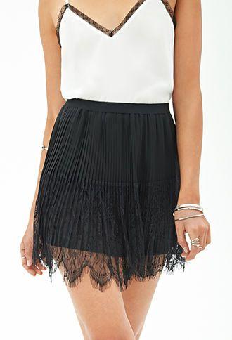 Pleated Eyelash Lace Skirt | FOREVER 21 - 2055879188