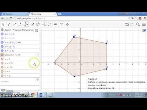 Practica 3.- Polígono, área y perímetro en Geogebra - YouTube