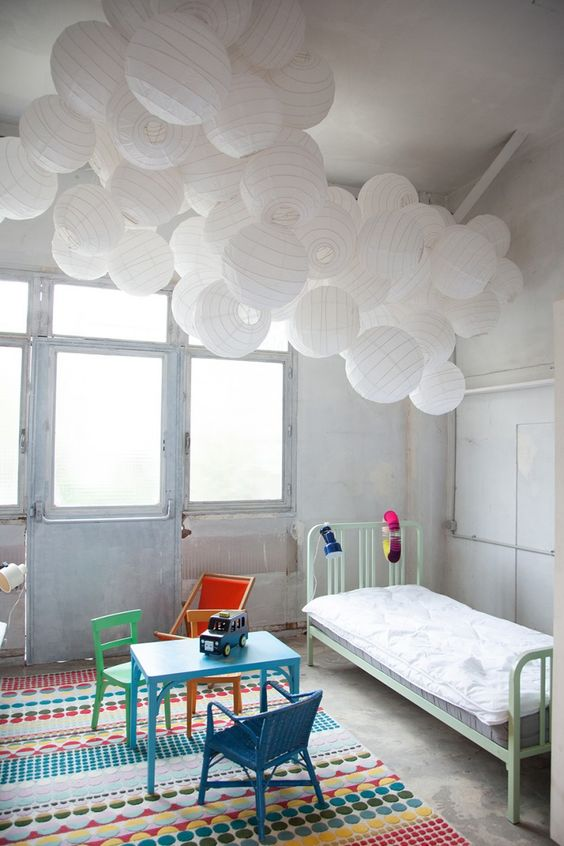 paper lanterns cloud ceiling and white paper lanterns on pinterest