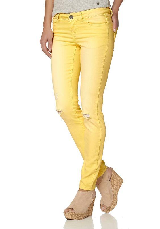 Materialzusammensetzung , Obermaterial: 68% Baumwolle, 30% Polyester, 2% Elasthan, |Material , Materialmix, |Materialeigenschaften , elastisch, |Optik , Abriebeffekte, |Stil , modisch, |Leibhöhe , niedrig, |Beinabschluss , abgesteppt, |Passform , extraeng, |Schnittdetails , Passe hinten, |Schnittform Länge , lang, |Taschen , Eingrifftasche, aufgesetzte Taschen, |Verschluss , Knopf, |Besondere M...