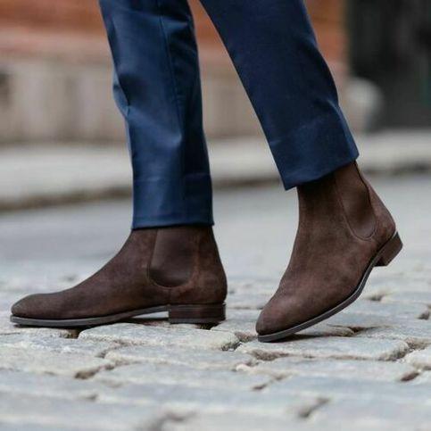 Brown suede chelsea boots, Mens suede