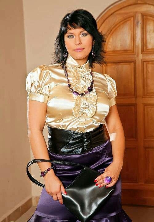 Purple Satin Belted Skirt and Gold Satin Blouse http ...