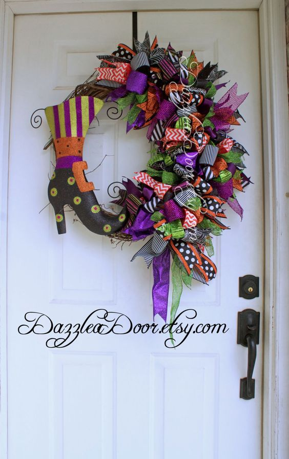 Halloween Witch Boot Wreath on Grapevine Base With Whimsical Bow, Halloween Wreath, Witch Wreath - pinned by pin4etsy.com