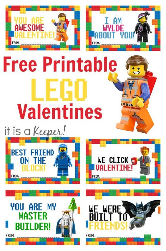 Lego lovers look no further! We have Valentine's Day cards for all your classroom friends! Free printables!