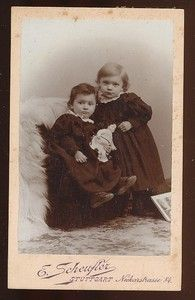Vintage cabinet card two German girls with doll