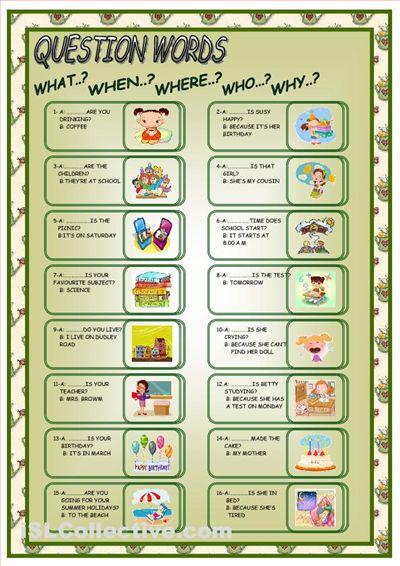 questions words worksheet free esl worksheets rla pinterest esl. Black Bedroom Furniture Sets. Home Design Ideas