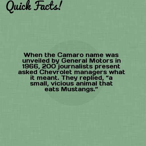 Quick Fact When The Camaro Name Was Unveiled By General Motors In Facts Fun Facts Weird Facts