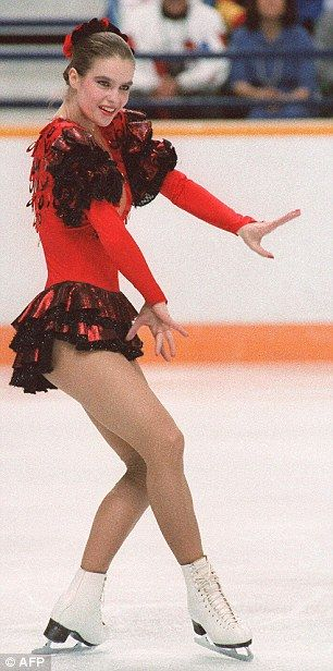 Katarina Witt performs her free programme during the Olympic Saddledome in Calgary