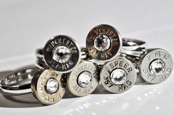Gunpowder and Glitz Simplistic Nickel Plated Bullet Ring..