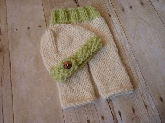 Custom Knit Hat And Knit Baby Pants Set by CricketCreations, $50.00