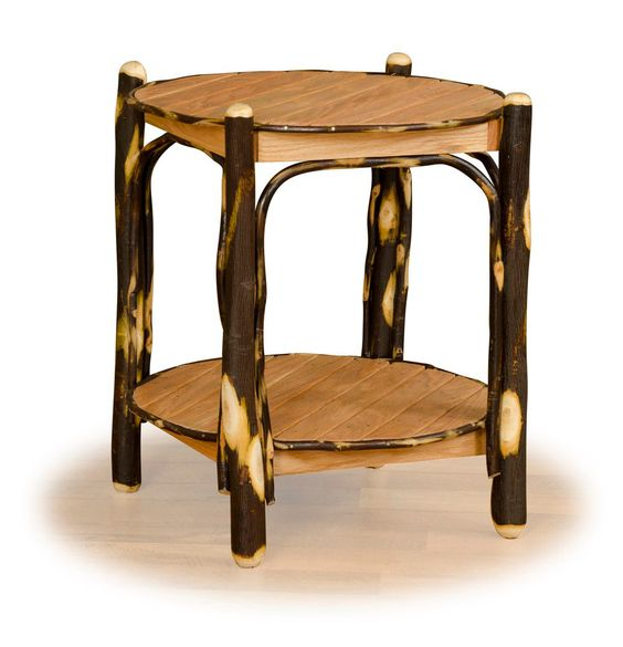 Rustic Hickory U0026 Oak Two Tier Round End Table. Amish Made In The USA. |  Rustic Hickory U0026 Oak Log Furniture | Pinterest | Amish, Round End Tables  And Rustic