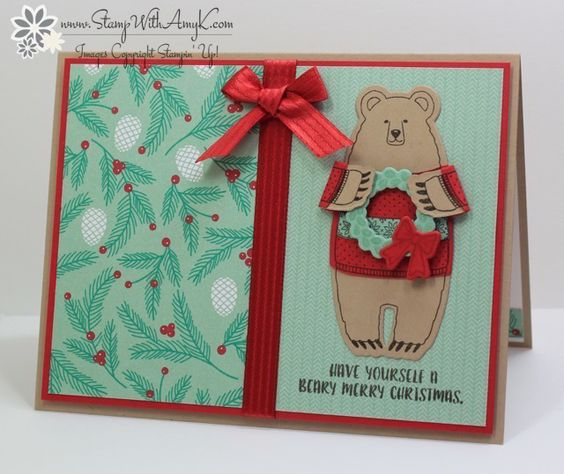 I used the Stampin Up!Fa-la-la-la Friends stamp set to create a fun holiday card to share today. I did have a little goof on the colors…I was sure that the Presents & Pinecones DSP had …