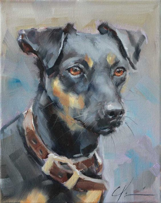 Black and Rust Brown Rat Terrier, Jack Russell, Original Painting by Clair Hartmann