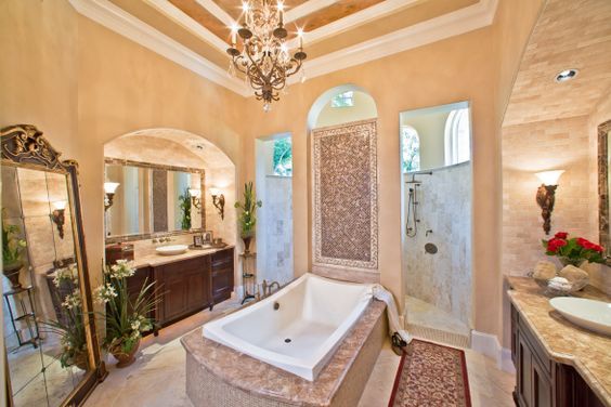 Great bathroom, I love the walk-through shower with the floating tub in the middle of the room...sigh