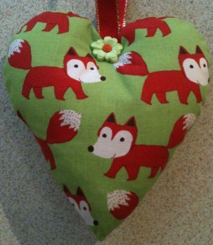 Fox Fabric Heart Shaped Lavender Bag - Handmade