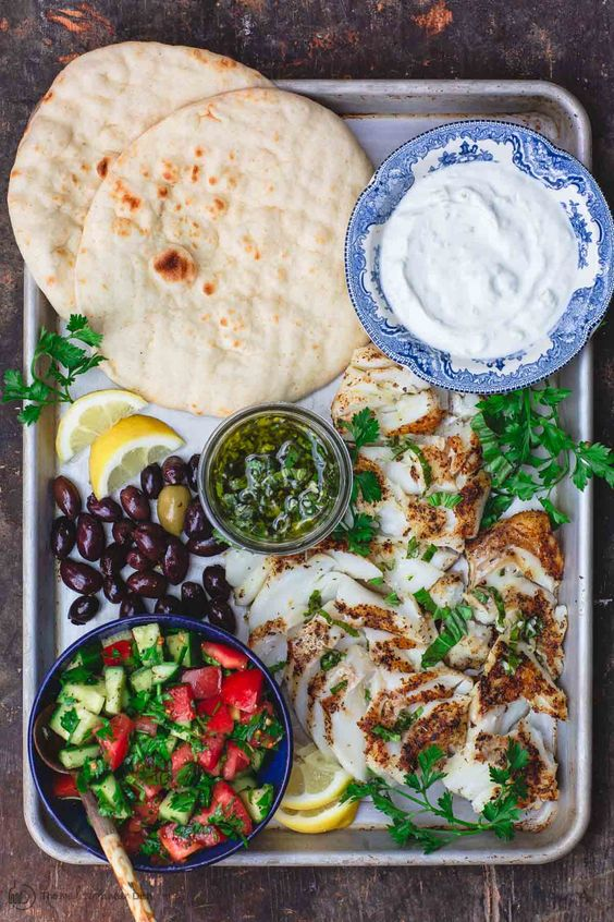 Grilled Cod-Gyro-Style