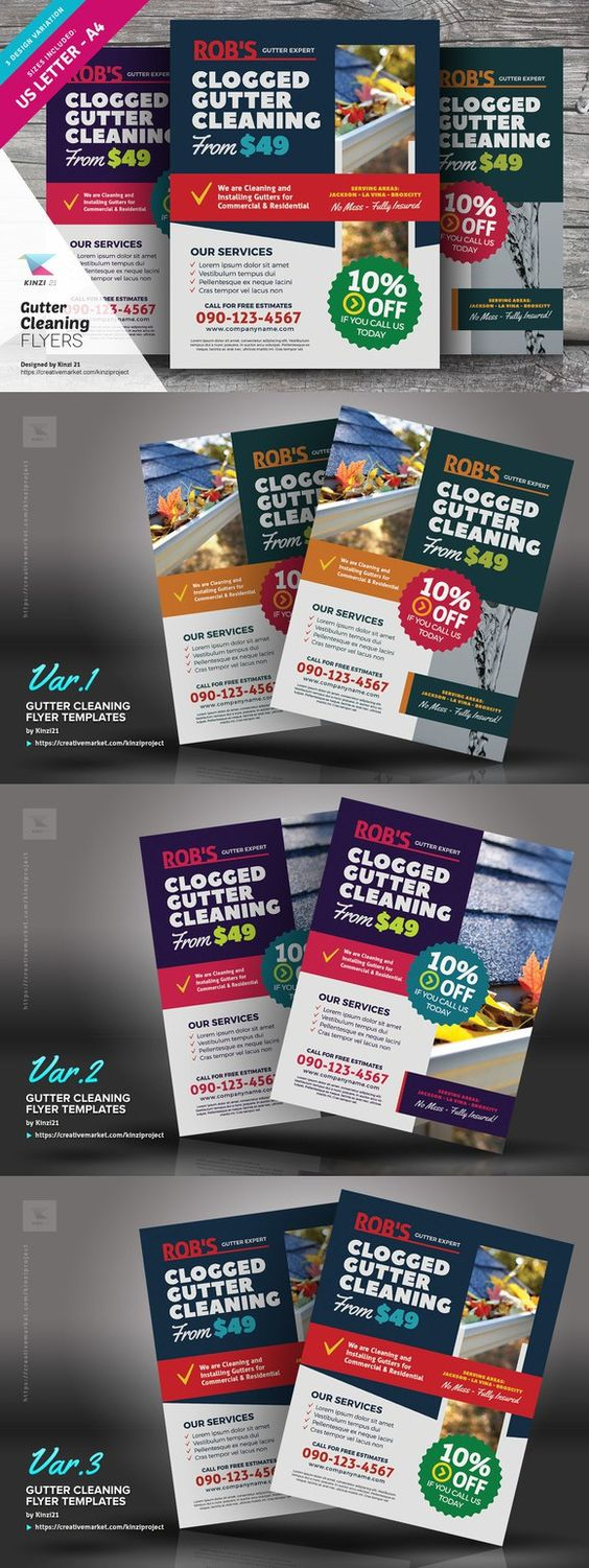 gutter cleaning flyer templates modello di volantino pulizia e gutter cleaning flyer templates