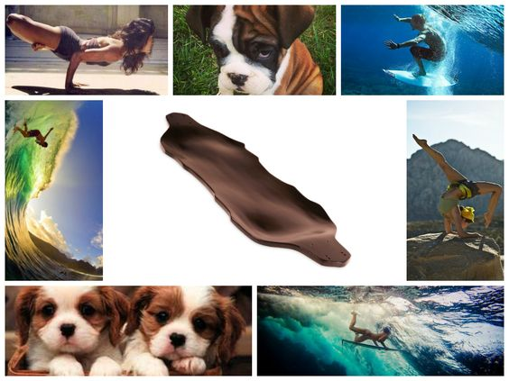 What do Uh-huh Longboards, puppies, yoga, and surfing have in common? #uhhuh #longboards #puppies #yoga #surfing